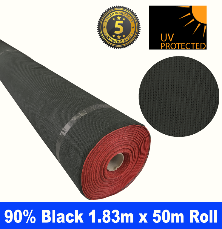 Shade Cloth Roll - 90% x 1.83m x 50m (Black)