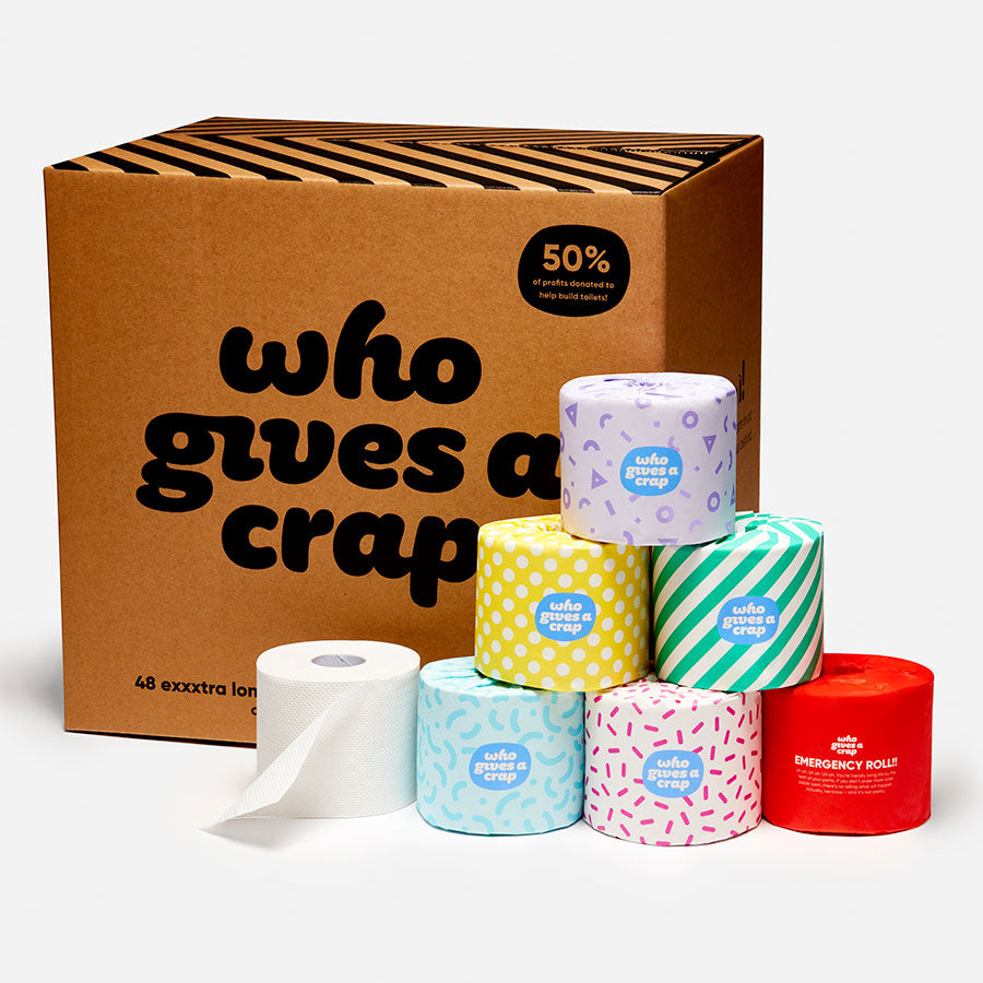Who Gives A Crap - 100% Recycled Toilet Paper (48 double length rolls)