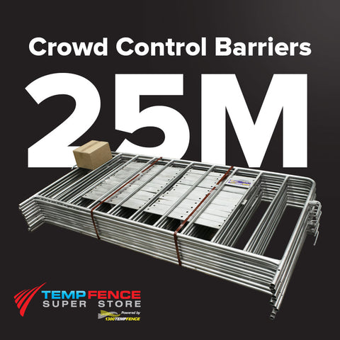 25m Pack of 2.2m Galvanised Crowd Control Barriers