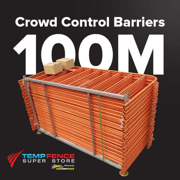100m Pack of 2.2m Orange Crowd Control Barriers