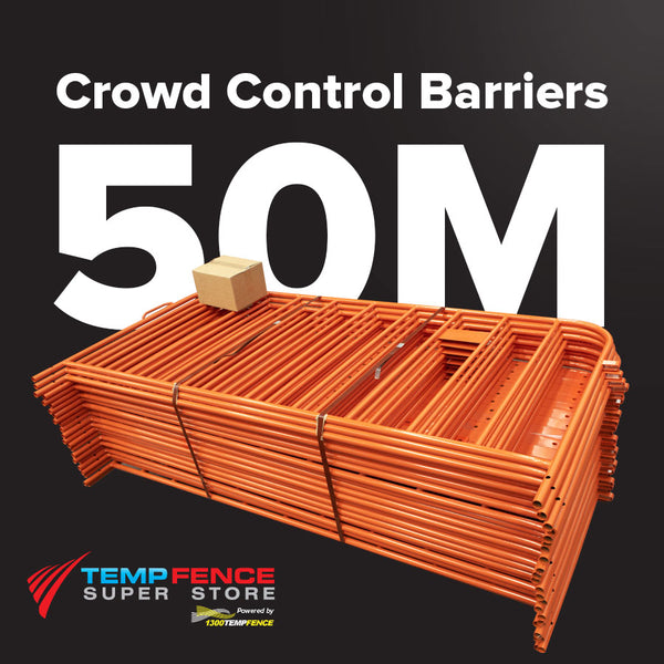50m Pack of 2.2m Orange Crowd Control Barriers