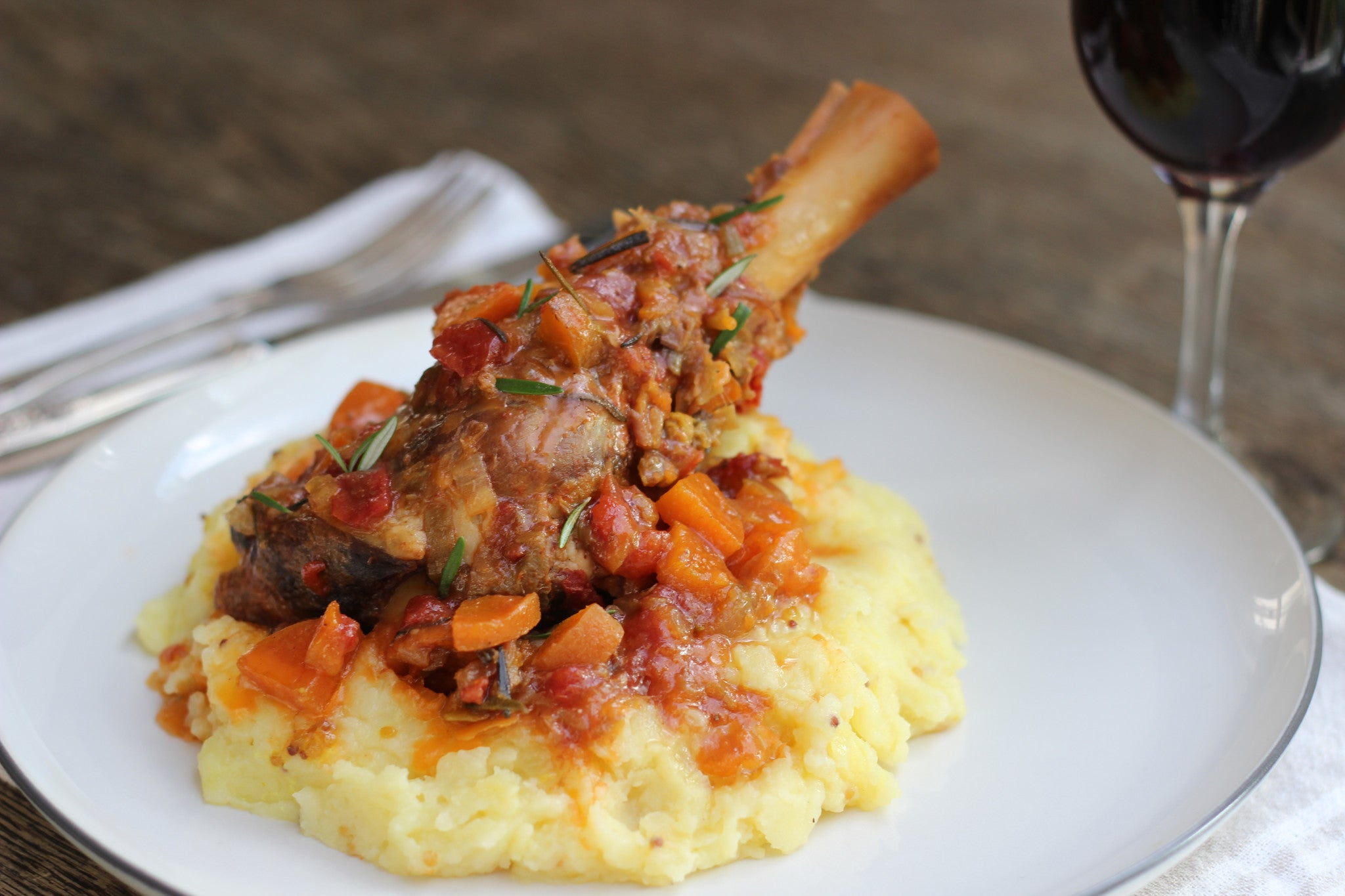 Tomato and Leek Lamb Shanks with Mustard Mash