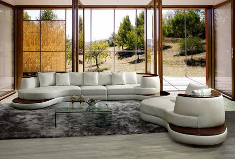 Divani Casa Rodus - Rounded Corner Leather Sectional Sofa With Wood Trim VGEV105 - Pearl Igloo