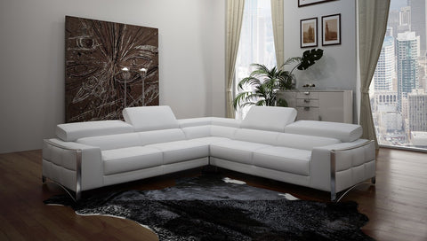 Divani Casa Metz Modern White Bonded Leather Sectional Sofa VGCA1504B-BL-WHT - Pearl Igloo