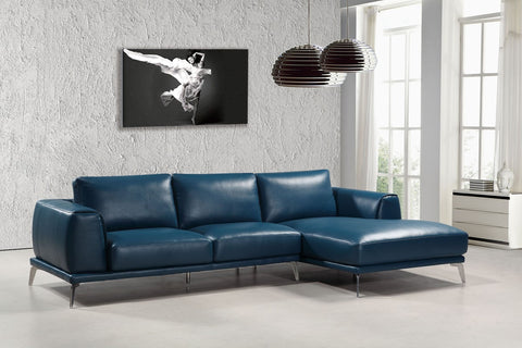 Divani Casa Drancy Modern Blue Bonded Leather Sectional Sofa  VGCA1579ANG-BLU - Pearl Igloo