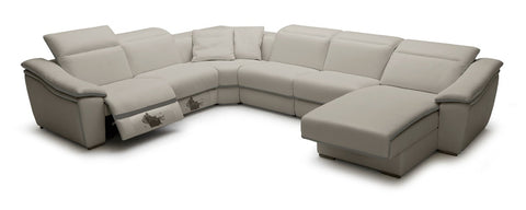 Divani Casa Jasper Modern Light Grey Leather Sectional Sofa - VGKK1728-GRY