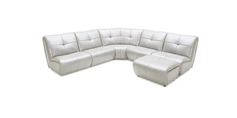 Divani Casa Grenada Modern Grey Fabric Sectional Sofa & Ottoman - Pearl Igloo