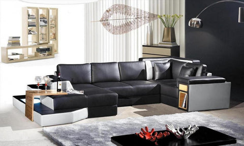 Divani Casa 2314 Contemporary Leather Sectional Sofa - VGEV2314 - Pearl Igloo