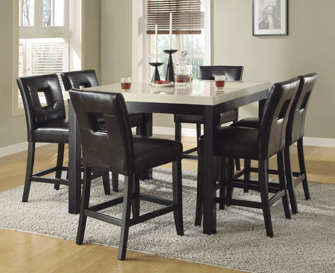 Archstone Collection 7Pcs Counter Height Table & Black Chair Set 3270-36 - Pearl Igloo - 1