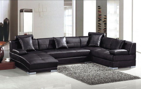 Divani Casa 3334 Ultra Modern Black Bonded Leather Sectional Sofa VGEV3334-BL - Pearl Igloo