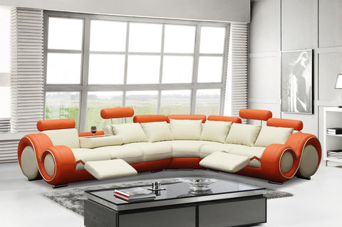 Divani Casa 4087 - Orange and Off-White Bonded Leather Sectional Sofa VGEV4087-4 - Pearl Igloo