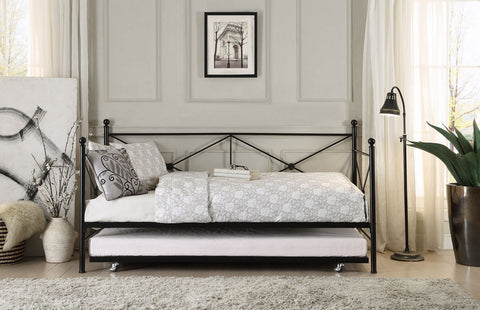 Jones Metal Daybed with Trundle 4964BK-NT - Pearl Igloo - 1