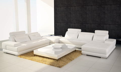 Divani Casa Phantom - Modern White Bonded Leather Sectional Sofa w Ottoman and Glass End Table VGEV-SP-5005W - Pearl Igloo