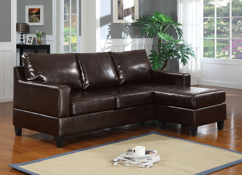 Vogue Espresso Bycast PU Sectional Sofa 15913 - Pearl Igloo