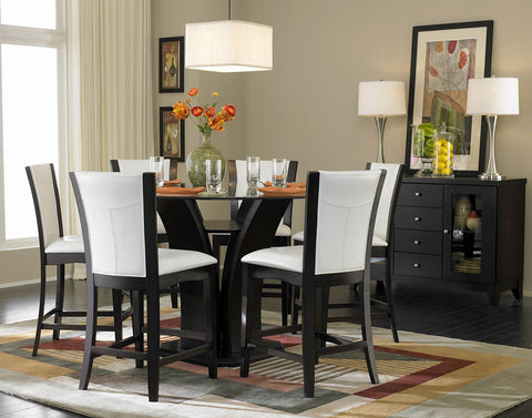 Daisy 7Pcs Round Counter Height Dining Set with White Chairs 710 - Pearl Igloo - 1