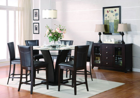 Daisy 5Pcs Round Counter Height Dining Set with Dark Brown Chairs 710 - Pearl Igloo - 1