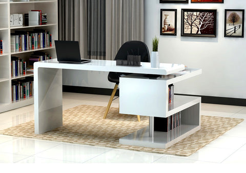 A33 Modern office Desk SKU17914 - Pearl Igloo - 1