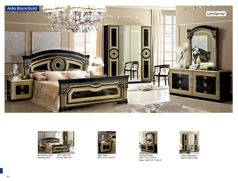 Aida Black w/Gold 4 Pcs Queen Bedroom Set - Pearl Igloo - 1