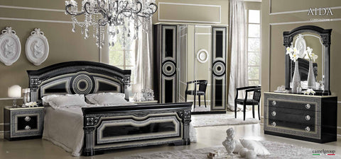 Aida Black w/Silver 4 Pcs Queen Bedroom Set - Pearl Igloo - 1