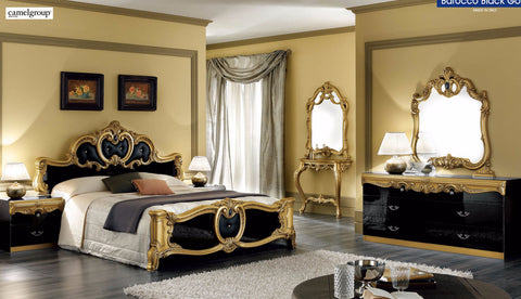 Barocco Black w/Gold 4 Pcs Queen Bedroom Set - Pearl Igloo - 1