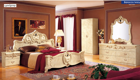 Barocco Ivory 4 Pcs Queen Bedroom Set - Pearl Igloo - 1