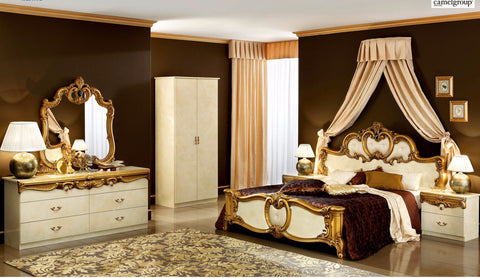 Barocco Ivory/Gold 4 Pcs Queen Bedroom Set - Pearl Igloo - 1