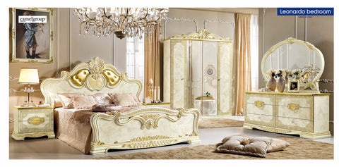 Leonardo 4 Pcs Queen  (Imbottito) Bedroom Set - Pearl Igloo - 1