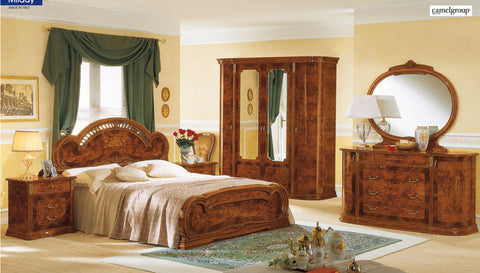 Milady Walnut 4 Pcs Queen Bedroom Set - Pearl Igloo - 1
