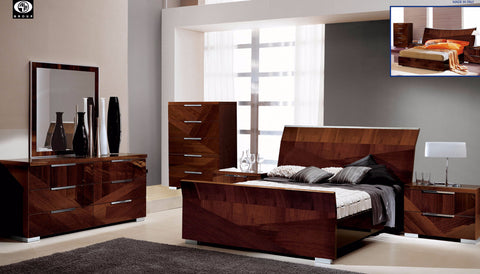 Capri Walnut 4 Pcs King Bedroom Set - Pearl Igloo - 1