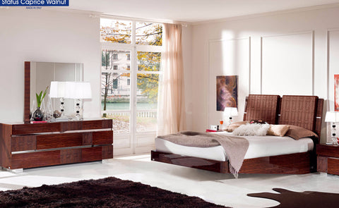 Status Caprice Walnut 4 Pcs Queen Bedroom Set - Pearl Igloo - 1