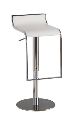 C027B-3 White Leather Barstool SKU17732 - Pearl Igloo - 1