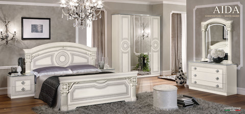 Aida White w/Silver 4 Pcs Queen Bedroom Set - Pearl Igloo - 1