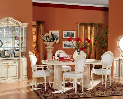 Rossella Comp1  6 Pcs Dining Table and Chair Set - Pearl Igloo - 1