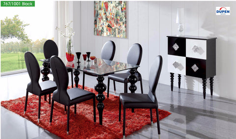 "ESF ""63"" Black 7 Pcs Dining Table and Chairs Set - Pearl Igloo - 1"
