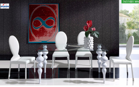"ESF ""63"" White 5 Pcs Dining Table and Chairs Set - Pearl Igloo - 1"