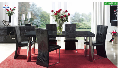 Coco Black 6 Pcs Dining Table and Chairs Set - Pearl Igloo - 1