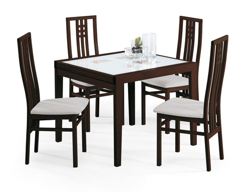 Poker Wenge 90 *90  & Scala 5 Pcs Dining Set - Pearl Igloo - 4
