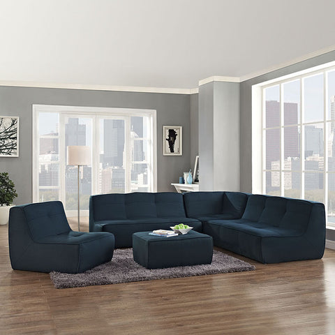 Align 5 Piece Upholstered Sectional Sofa Set In Azure - EEI-1015-AZU-SET - Pearl Igloo - 1