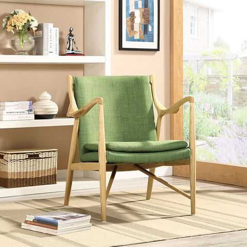 Makeshift Upholstered Lounge Chair In Natural Green - EEI-1440-NAT-GRN - Pearl Igloo - 1