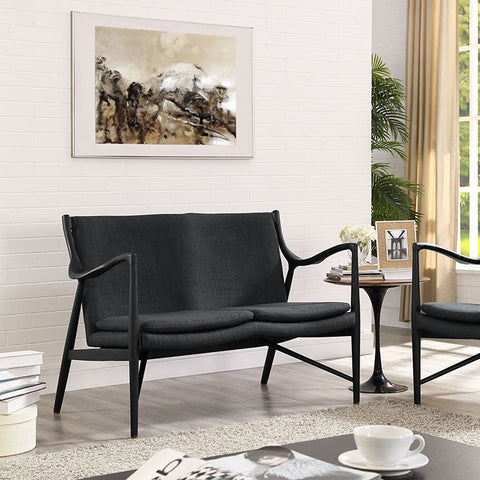 Makeshift Upholstered Loveseat In Black Gray - EEI-1441-BLK-GRY - Pearl Igloo - 1