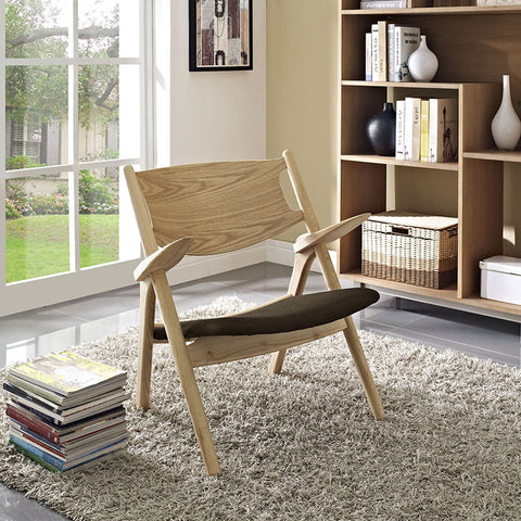 Concise Lounge Chair In Natural Brown - EEI-1445-NAT-BRN - Pearl Igloo - 1