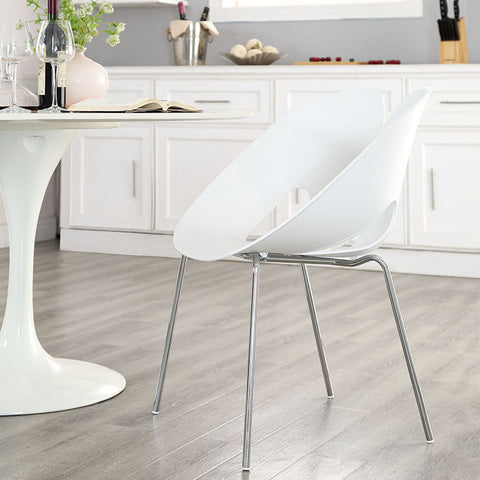 Envelope Dining Side Chair In White - EEI-1452-WHI (2Piece) Free Shipping - Pearl Igloo - 1