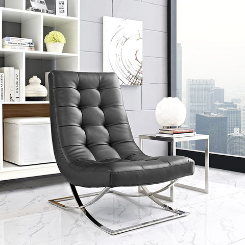 Slope Lounge Chair In Black - EEI-2076-BLK - Pearl Igloo - 1