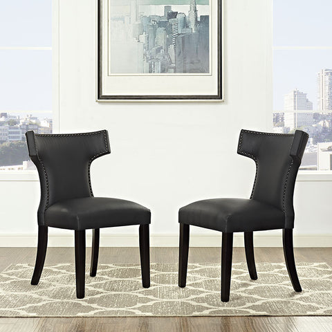 Curve Vinyl Dining Chair In Black - EEI-2220-BLK (2Piece) Free Shipping - Pearl Igloo - 1