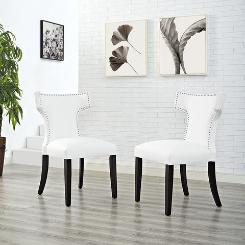 Curve Vinyl Dining Chair In White - EEI-2220-WHI (2Piece) Free Shipping - Pearl Igloo - 1