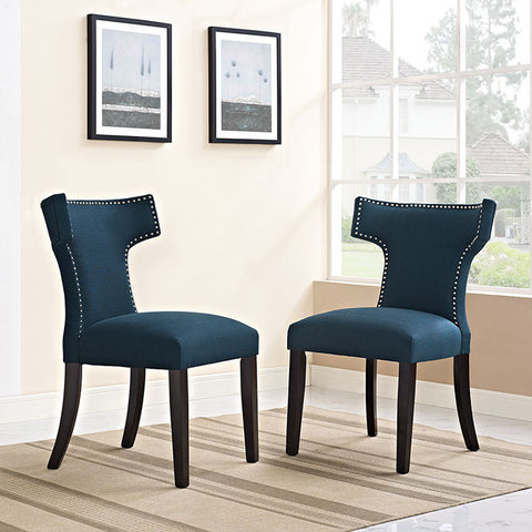 Curve Fabric Dining Chair In Azure - EEI-2221-AZU (2Piece) Free Shipping - Pearl Igloo - 1