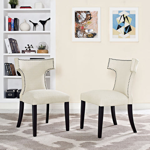 Curve Fabric Dining Chair In Beige - EEI-2221-BEI (2Piece) Free Shipping - Pearl Igloo - 1