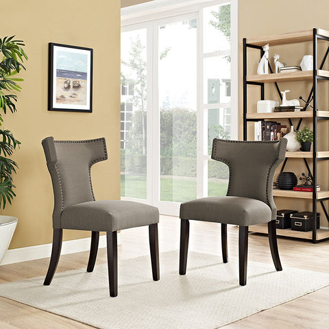 Curve Fabric Dining Chair In Granite - EEI-2221-GRA (2Piece) Free Shipping - Pearl Igloo - 1