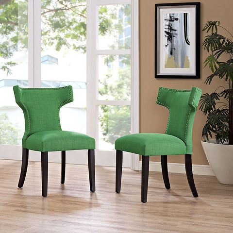 Curve Fabric Dining Chair In Kelly Green - EEI-2221-GRN (2Piece) Free Shipping - Pearl Igloo - 1