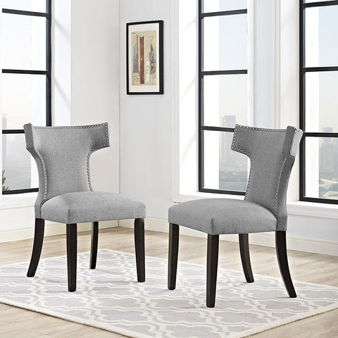 Curve Fabric Dining Chair In Light Gray - EEI-2221-LGR (2Piece) Free Shipping - Pearl Igloo - 1